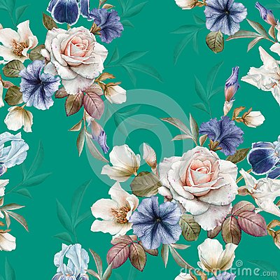 Free Floral Seamless Pattern With Petunias, Hellebore,roses And Irises Royalty Free Stock Photos - 110453458