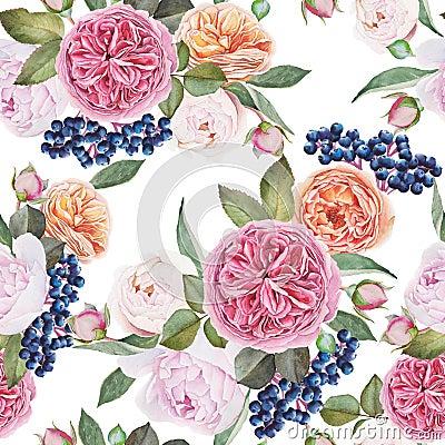 Free Floral Seamless Pattern With Watercolor Roses, Peonies, Black Rowan Berries. Royalty Free Stock Photos - 63384828