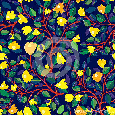 Free Floral Seamless Pattern With Yellow Flowers On Dark Blue Royalty Free Stock Photos - 55804818