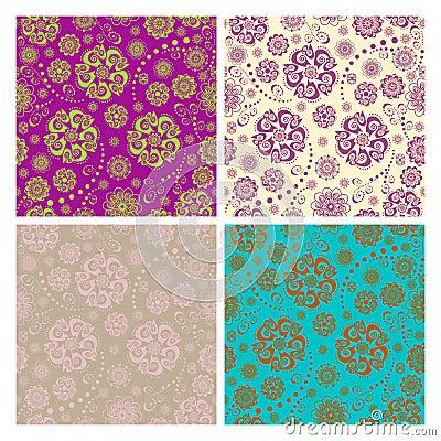 Free Floral Seamless Patterns Set Stock Photo - 21593180