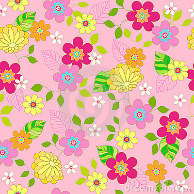 Floral Seamless Repeat Pattern Vector Illustration