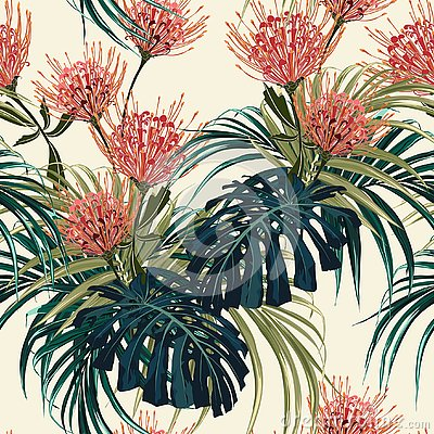 Free Floral Seamless Vector Tropical Pattern, Spring Summer Background With Exotic Protea Flowers, Palm Leaves. Stock Photos - 127302303