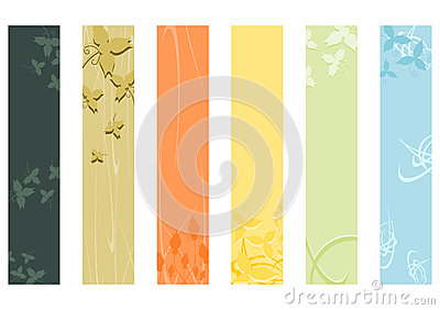 Floral skyscraper banners set.