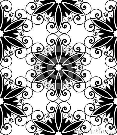 Floral spiral black white