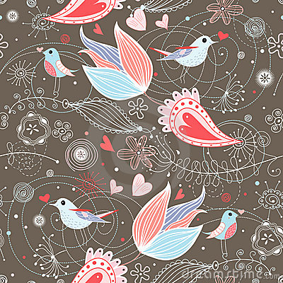 Floral summer pattern with birds