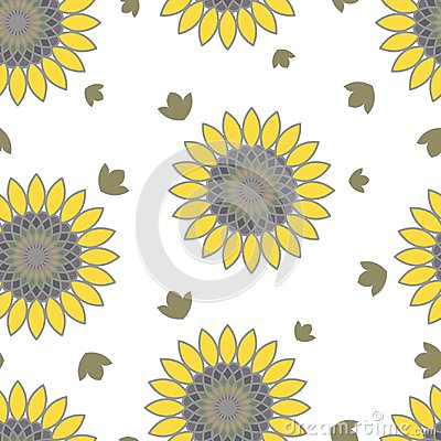 Floral summer seamless pattern of sunflowers Vector Illustration