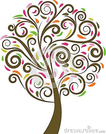 Free Floral Swirl Tree Stock Image - 12261101
