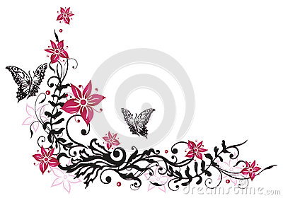 Floral tendril, flowers, butterflies