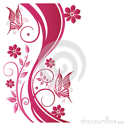 Floral tendril, flowers, pink