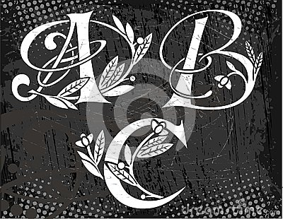 Floral Text abc in the  image
