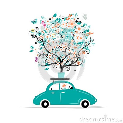 Free Floral Tree On The Car Roof Royalty Free Stock Photo - 42797155