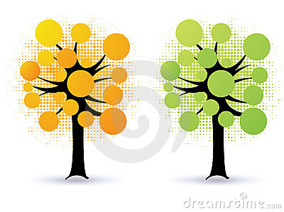 Floral trees - vector
