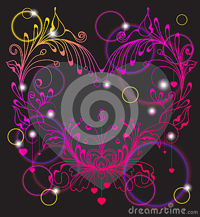 Floral Valentine background with heart