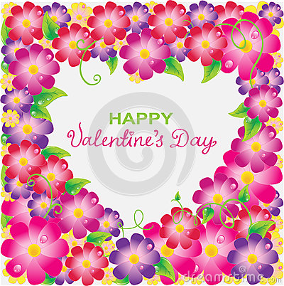 Floral Valentine background with heart shape