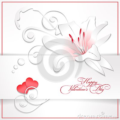 Free Floral Valentines Day White Background With Hearts Royalty Free Stock Photo - 28806655