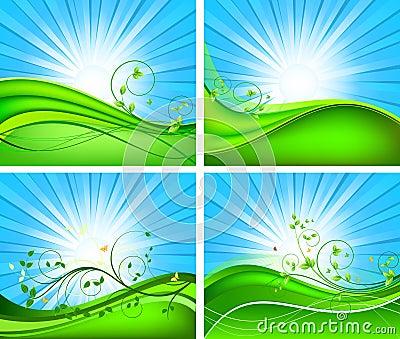Floral vector background set