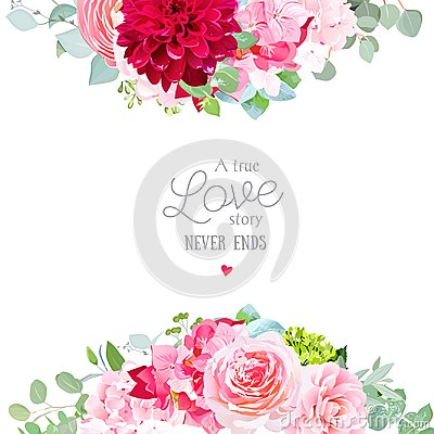 Free Floral Vector Banner Frame With Pink Rose, Hydrangea, Stock Image - 107601831