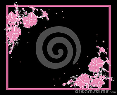 Floral vector card with pink decorations