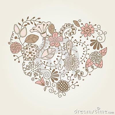 Floral vintage heart shape