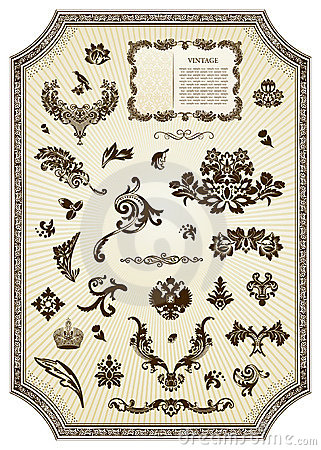 Floral vintage royal design element