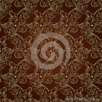 Floral vintage seamless pattern on brown background