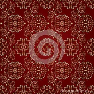 Free Floral Vintage Seamless Pattern On Red Background Royalty Free Stock Photos - 29909548