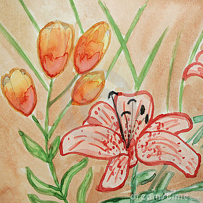 Floral watercolor illustration of flower