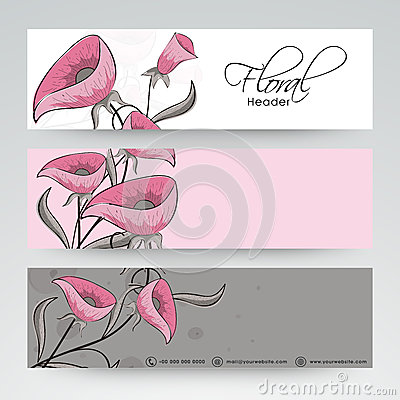 Free Floral Website Header Or Banner Design. Royalty Free Stock Photo - 53214295