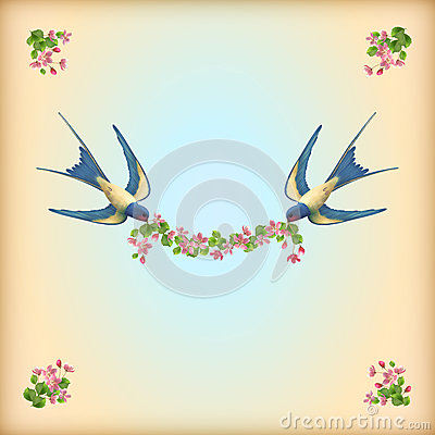 Floral wedding invitation card with flowers birds