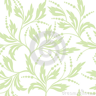 Floral White And Light Green Seamless Pattern Royalty Free ...