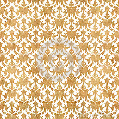 FLORAL WHITE PATTERN IN GRUNGE YELLOW BACKGROUND