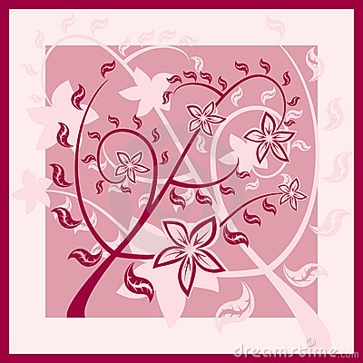 Floral wine red ornament (pattern) with flowers.