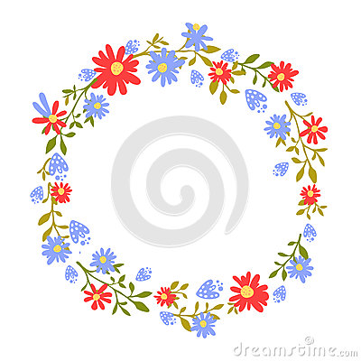 Free Floral Wreath, Hand Drawn Frame With Place For Text. Nature Inspired Garland With Red And Blue Flowers. Vector Design Stock Image - 75652781