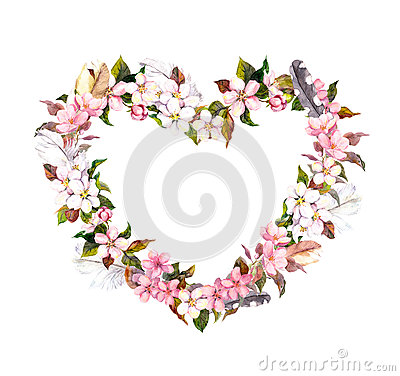Free Floral Wreath - Heart Shape. Pink Flowers And Feathers. Watercolor For Valentine Day, Wedding In Vintage Boho Style Royalty Free Stock Photography - 84807487