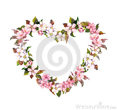 Free Floral Wreath - Heart Shape. Pink Flowers. Watercolor For Valentine Day, Wedding In Vintage Boho Style Stock Image - 84054531