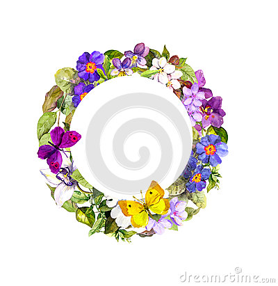Free Floral Wreath - Meadow Flowers, Wild Grass And Spring Butterflies Royalty Free Stock Photography - 76914377