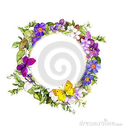 Free Floral Wreath - Meadow Flowers, Wild Grass, Spring Butterflies. Watercolor Stock Photography - 77852452