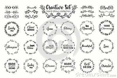 Floral wreath set. Hand drawn flourish frames. Dividers and borders. Herbal elements and flowers Vector Illustration