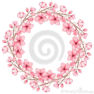 Floral Wreath With Watercolor Light Pink Flowers Stock Photo