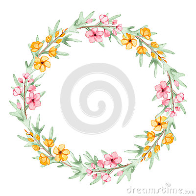 Floral Wreath With Watercolor Yellow And Pink Flowers Stock Photo