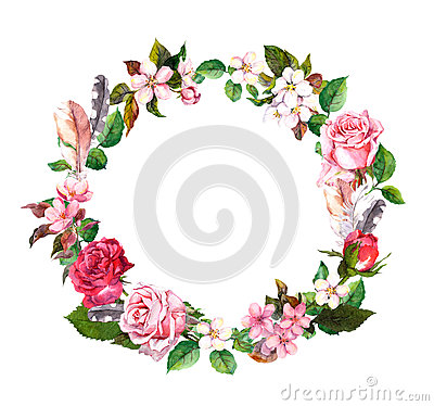 Free Floral Wreath With Apple, Cherry Flowers, Sakura Blossom, Roses Flowers And Feathers. Watercolor Round Border Stock Photos - 92584283