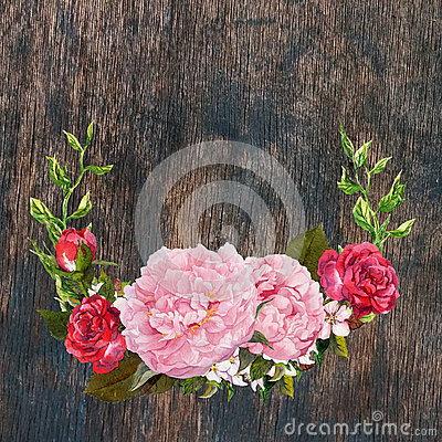 Free Floral Wreath With Pink Peony, Red Roses Flowers At Wooden Texture. Watercolor Royalty Free Stock Photography - 91601577