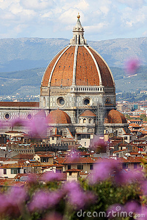 Florence cathedral with flowers