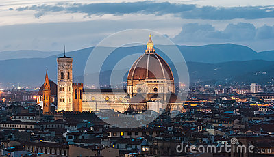 Florence, Cathedral, night panorama