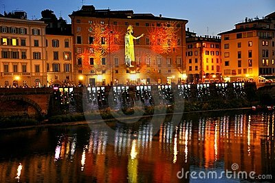 Florence city by night , Italy  Editorial Image