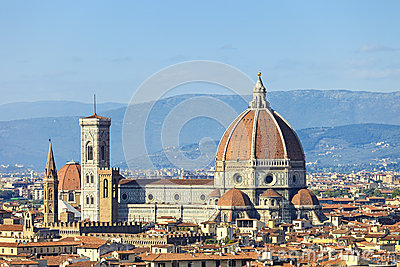 Florence, Duomo Cathedral landmark. Panorama view from Michelang