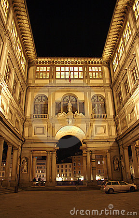Free Florence, Gallery Of The Ufizzi At Night Stock Images - 13852904
