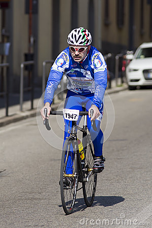 FLORENCE, ITALY - MARCH 2: Competitor during the Granfondo Firenze DeRosa race Editorial Stock Image