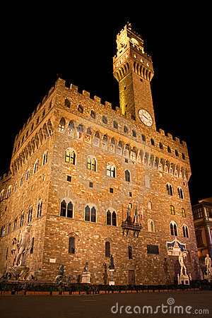 Florence, Palazzo Vecchio and David at Night