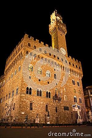 Florence, Palazzo Vecchio and David at Night